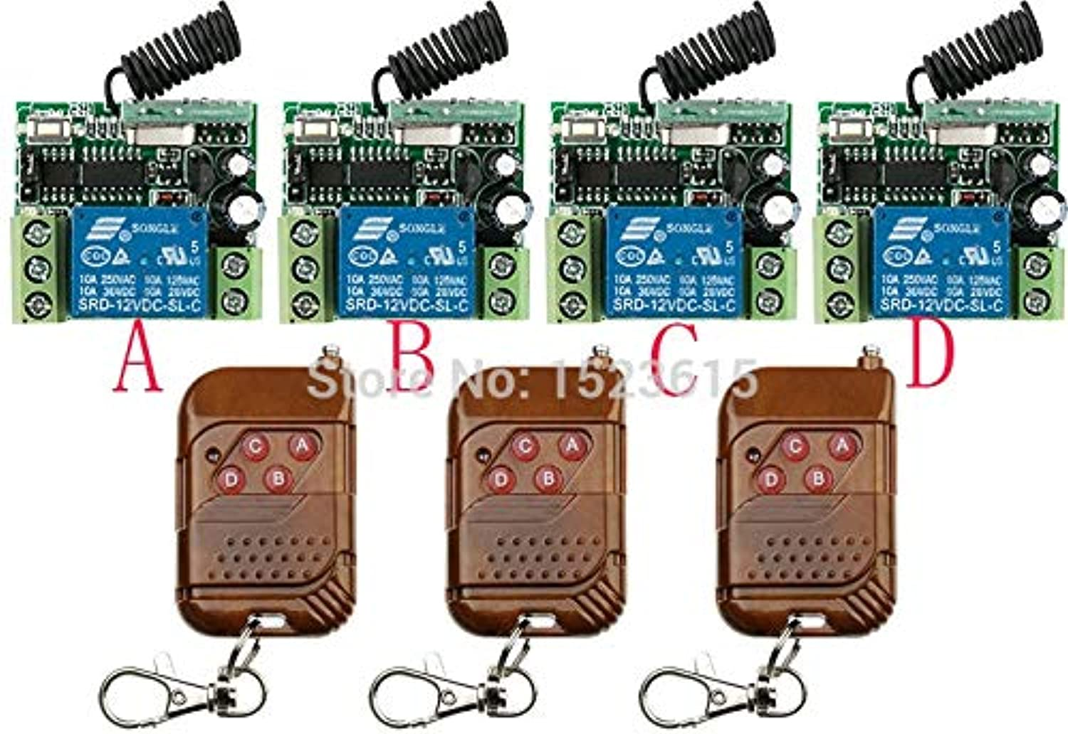 Hot Sales DC12V 10A 1Channe RF Wireless Remote Control Switch System teleswitch 3 X Transmitter +4X Receiver,315 433 MHZ