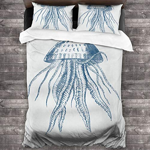 YouGaet Jhashdw Octopus Ink Drawing Luxurious and Softest Three-Piece Set, Hypoallergenic Bedding, Pillowcase + Bed Sheet Set 86x70 Inches
