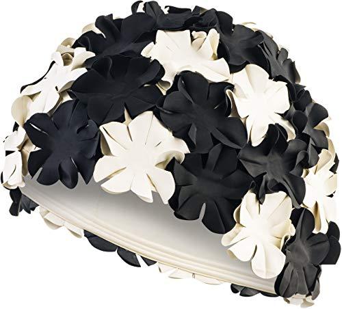 Aqua Speed Bloom Mujer Casquillo bao Retro (70s Caucho de ltex Flores), Color:Black/White