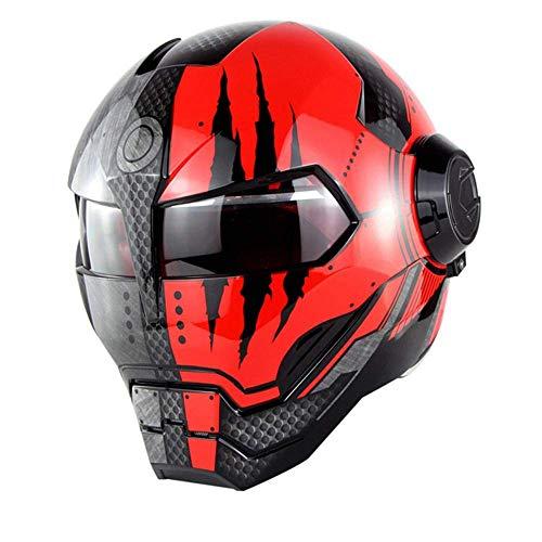 ZOLOP Casco integral para motocicleta, certificación DOT, casco estilo flip estilo retro Harley Transformers de Iron Man (Garra de fantasma brillante, L)