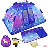 Ecore Fun 5 Items American 18 inch Dolls Camping Tent Set and Accessories Including 18 Inch Girl Doll Tent, Doll Sleeping Bag, Doll Backpack, Toy Camera and Dog