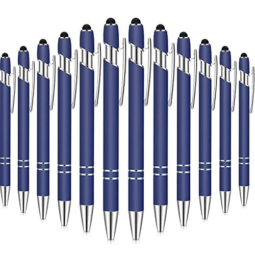 12 Pieces Ballpoint Pen with Stylus Tip, 1.0 mm Black Ink Metal Pen Stylus Pen for Touch Screens, Ballpoint Pen (Dark Blue)