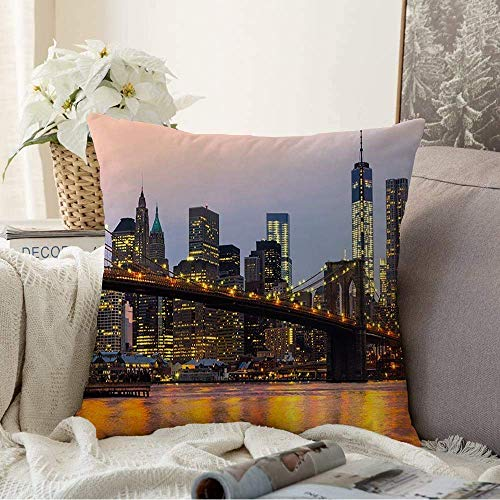 Fundas Decorativas para Cojines Funda de cojín Reflection Gate Brifge Tower Midtown Manhattan Skyline Sunrise Harbor NY Nueva York Downtown City Funda de Almohada para sofá