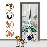 HMHD Porta Zanzariera Magnetica 85x220cm, Magic Mesh Totalmente Magnetica Zanzariera Passeggino, per Balcone, Garage, Le finestre ECC - Nero