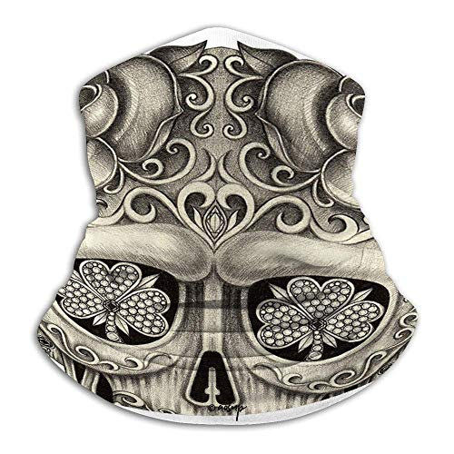 LAKILAN Decor,Spanish Sugar Skull With Floral Accessories And Feather Earrings,Grey And White Unisex Bandana,Neck Gaiter,Women Men Headband,Motorcycle Face Scarf,Winter Neck Warmer,Tube Headwear
