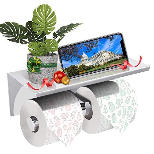 GEMITTO Toilettenpapierhalter mit Ablage Rollenhalter Wandbefestigung Klopapierhalter mit Satz bohrfreier Kleber für Badezimmer Toilette Küche