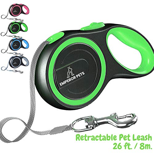 Emperor Pets 16ft / 26ft Retractable Dog Leash Large Breed  Heavy Duty Dog Leash Retractable Top Quality amp Durable Dog Leashes Retractable Tangle Free Anti Slip Handle  Green 26ft