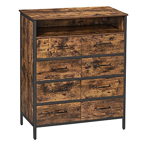 VASAGLE Kommode, Sideboard, Schrank mit 8 Schubladen, offenes Fach, Vliesstoff-Schubladen mit MDF-Front, Stahlgestell, vintagebraun-schwarz RDD021B01
