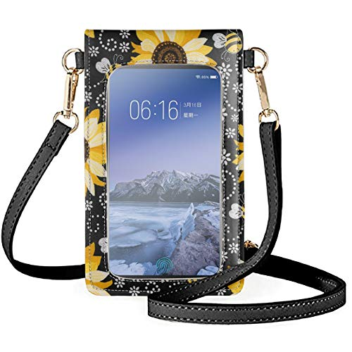 HUGS IDEA Touch Screen PU Leather Mini Crossbody Bags, Cartoon Sunflower & Bee Elegant Floral Black Crossbody Phone Purse Clear Window Touchscreen Shoulder Bag