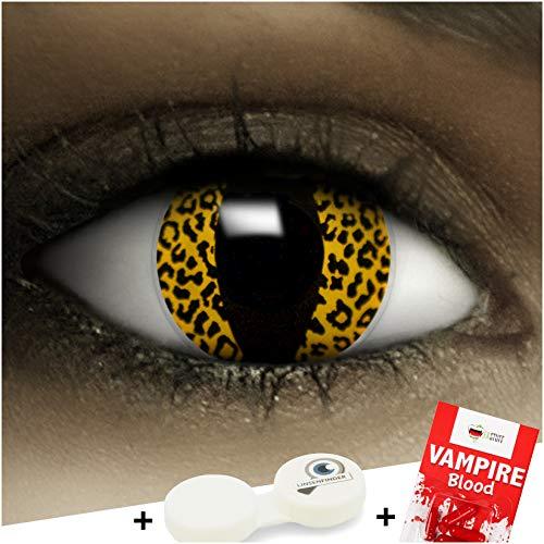 Farbige Kontaktlinsen ohne Stärke Leopard + Kunstblut Kapseln + Kontaktlinsenbehälter, weich ohne Sehstaerke in gelb und schwarz, 1 Paar Linsen (2 Stück)