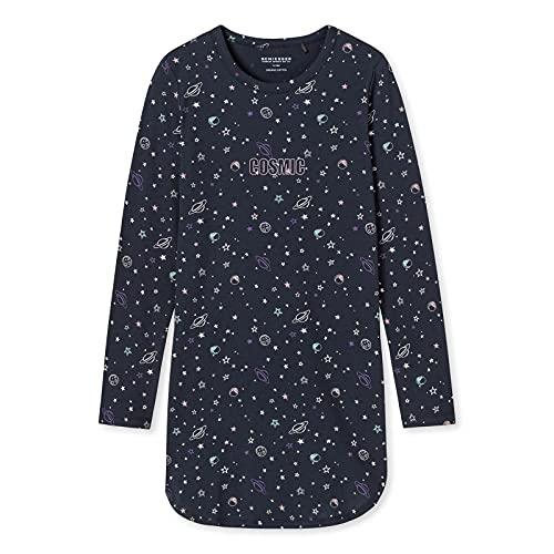 Schiesser Mädchen Langarm Nachthemd, schwarz, 152