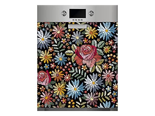 Oedim Vinilo para Lavavajillas Flores Textil, Vinilo Decorativo para lavavajillas, decoración para cocinas, Pegatina lavavajillas