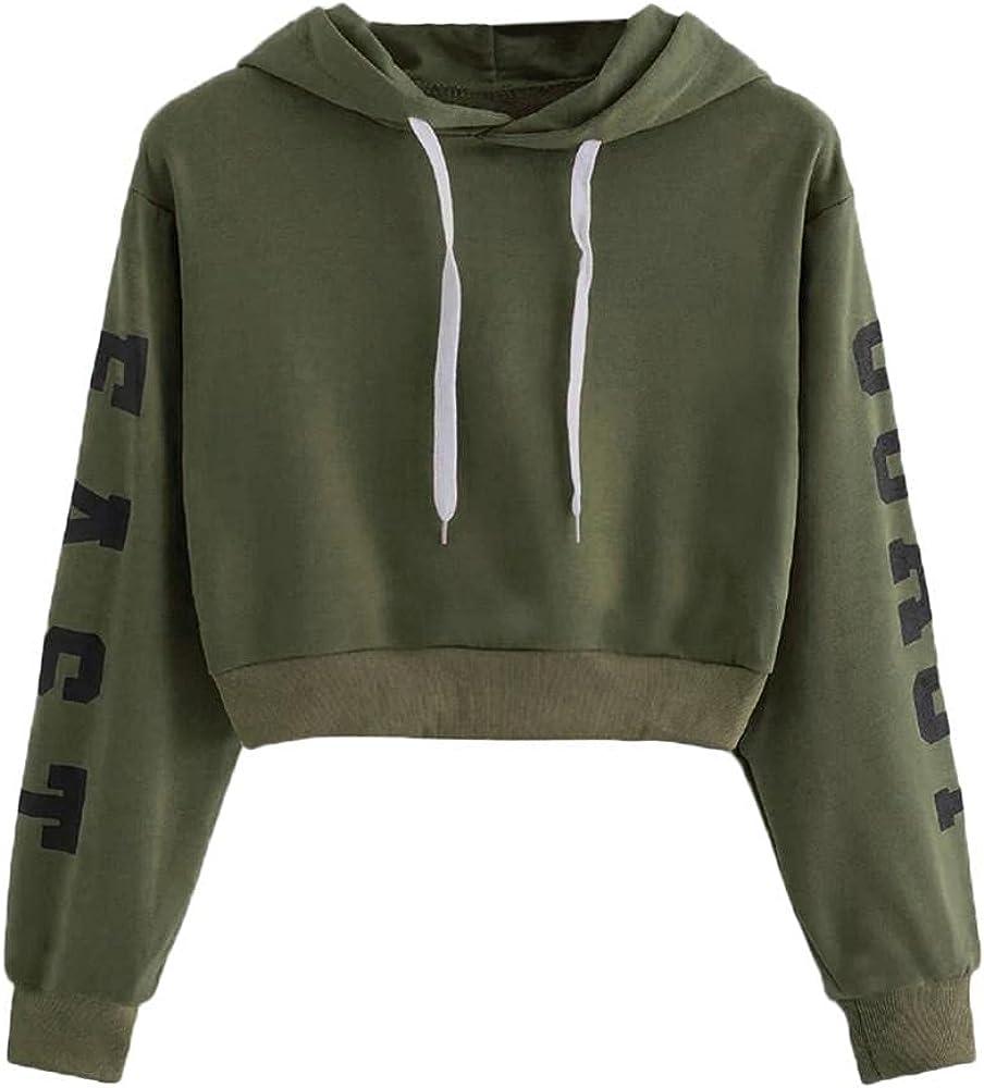 Hotkey Hoodies for Women, NEW YORK Womens Fashion Sweatshirt Letter Print Pullover Drawstring Casual Long Sleeve Crop Tops