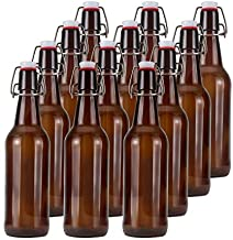 16oz Glass Beer Bottles with Flip Caps for Home Brewing OMMO Amber Swing Top Glass Bottles Airtight Brewing Bottles for Home Brewing, Kombucha (Case of 12)