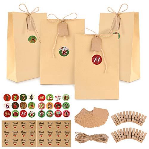 Bolsas de regalo navidad, GIKPAL Bolsas de Regalo de Papel con 48 Pegatinas para Bodas, Cumpleaños o Fiestas de Navidad, Dulces Papel para Envolver los Favores (Amarillo claro, 22 * 15 * 6)