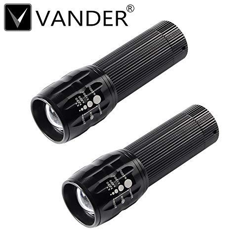 Lot de 2 mini Penlight 2000LM étanche lampe torche LED 3 modes mise au point réglable Zoomable Lanterne lampe Portable Utilisation 1 x AAA