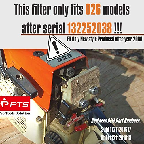 PTS 2 Pcs of STIHL 026 Air Filter Cleaner. for STIHL 024 026 MS240 MS260 Engine Motor Air Filter 1121 120 1617. Factory Quality. 1 Year Warranty.