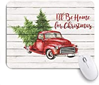 Mabby マウスマット ゲーミング オフィス マウス パッド,Merry Christmas Colorful Christmas Balls with Pine Fir Tree Red Retro Truck Car with Snowflake Xmas Tree on Rustic Wood,Non-Slip Rubber Base Mousepad