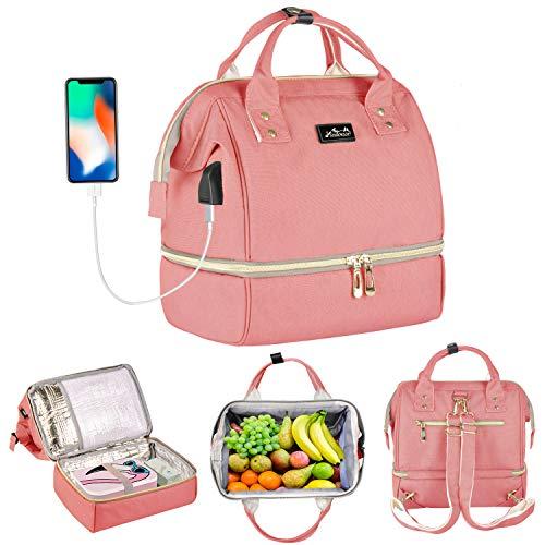 Viedouce stijlvolle compacte rugzakken, multifunctionele waterdichte Oxford-koeltassen en -zakken, maaltijdzak, reisluiertas, met USB-oplaadpoort en 2 verstelbare banden (Mini roze)