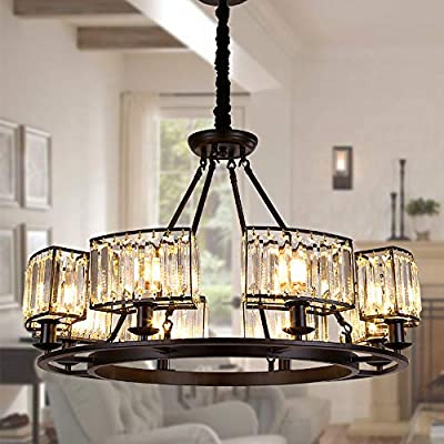 "OSAIRUOS Rustic Crystal Chandeliers Modern Contemporary Ceiling Light Fixtures Vintage Pendant Lighting Living Dining Room Foyer Entryway Chandelier W32.7"" 8-Lights"