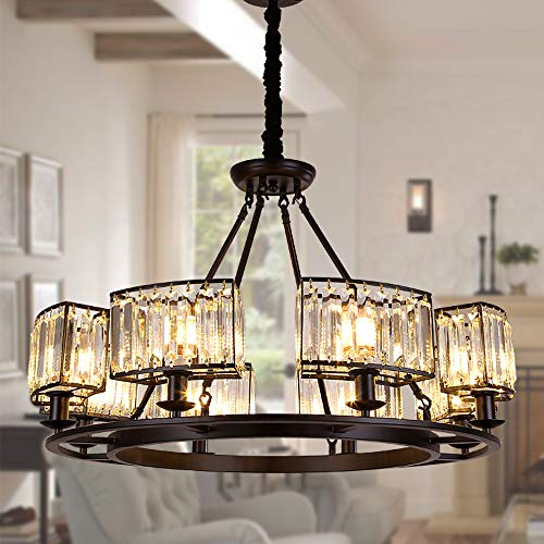 """OSAIRUOS Rustic Crystal Chandeliers Modern Contemporary Ceiling Light Fixtures Vintage Pendant Lighting Living Dining Room Foyer Entryway Chandelier W32.7"""" 8-Lights"""