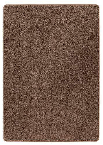 misento Alfombra Shaggy de Pelo Largo para salón, sin sustancias nocivas, 100% Polipropileno, marrón, 100 x 150 cm