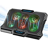 Laptop Cooling Pad, Laptop Cooler with 6 Quiet Fans RGB 7 Color Light for 15.6-17 Inch Laptop Cooling Fan Stand, Portable Slim USB Powered Gaming Laptop Cooling Pad, Switch Control Fan Speed(Black)