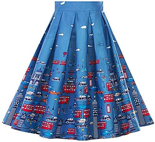 Damen Vintage A-Linie Bedruckte Plissee Ausgestellte Midi-Röcke Einfacher Stil Hohe Taille Freizeitrock Mädchen Röcke Für Frauen,Denim Patchwork Blue Rock Elastic,OneSize