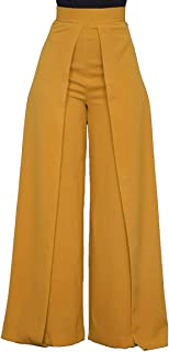ThusFar Women's High Waisted Palazzo Pants - Elegant Wide Leg Flare Pants