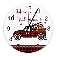 掛け時計 バレンタイン ラブ 車 赤い 格子 壁掛け時計 掛時計 静音 clock サイレント 壁時計 部屋 リビング 玄関 インテリア コンパクトサイズ 電池式 木掛け鐘 大数字 円形 贈り物 直径 30cm
