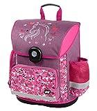 Baagl Schulranzen Mädchen 1. Klasse - Ergonomische Schultasche für Kinder - Grundschule Ranzen - Schulrucksack mit Brustgurt (Pferde)