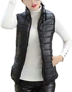Gilet Doudoune sans Manche Femme Fine Blouson Coton Chaude POPLY sous Doudoune Courte Femme Pas Cher Zip Down Jacket Warm Jacket Manteaux Hiver Outwear Down Coat for Women