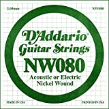 D'Addario .080 Nickel Wound Single String for Electric Guitar