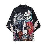 Hombre Kimono Cárdigan Abrigos, Pijama De Kimono Japonés Bata De Carretera Capa con Estampado De Belleza para Parejas Masculinas Y Femeninas Camiseta Informal Camiseta,Black-Xxlarge