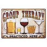 STOBOK Terapia di Gruppo Praticata Qui Retrò Vintage Targhetta in Metallo Targa in Metallo Targa Poster Segni Decorativi per Birra Bar Pub