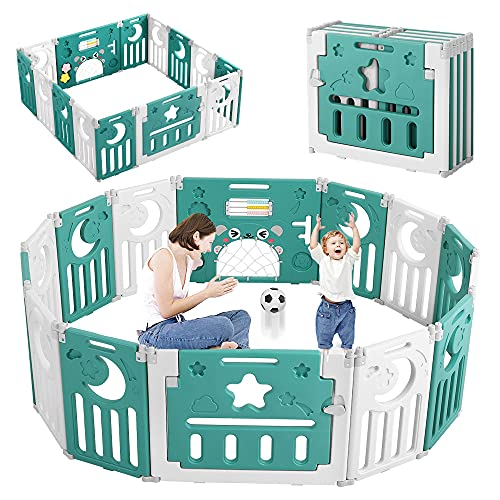 Baby Playpen, Dripex 14-Panel Foldable Kids Playpen Safety Playard/Non-Slip Rubber Bases/Adjustable Shape/Portable Design Baby Fence Play Pen for Indoor Outdoor Use (Neutral Green + White)