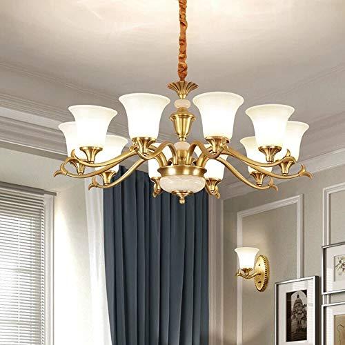 Φ97 × 43 cm de Estilo Europeo Completo de Lujo de Cobre de la lámpara E27 × 10 Caliente de Techo LED de luz de la lámpara decoración del hogar Candelabros YFJFJ Tienda
