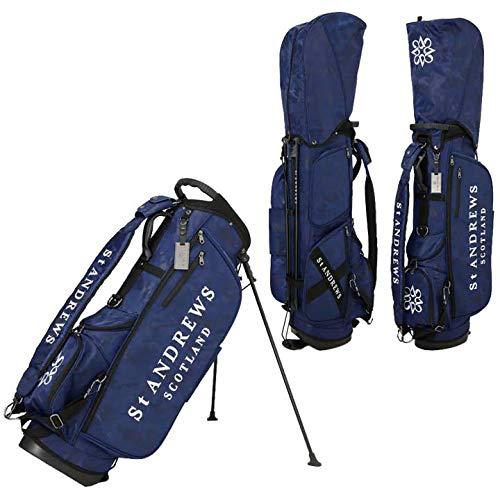 St.ANDREWS セントアンドリュース ゴルフ スタンド キャディバッグ 042-0980401 ユニセックス カモフラ ロゴ ジャガード 正規品 (120:ネイビー)