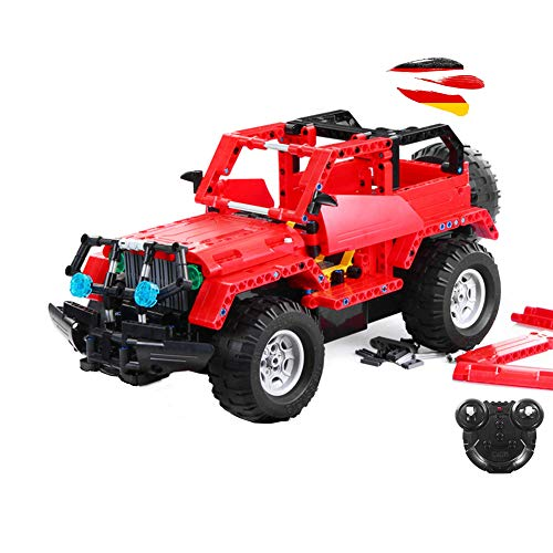 HSP Himoto 2.4GHz RC Steckbausatz DIY RC Ferngesteuerter 2in1 Truck Jeep aus Bausteinen zum Selber Bauen Basteln mit 2.4GHz Fernbedienung, Block Building