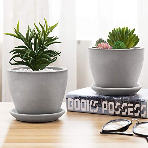MyGift 5-Inch Round Grey Concrete Planter/Flower Pots with Saucer, Set of 2