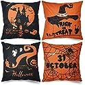 4-Pack Simocked Halloween Linen Pillow Covers