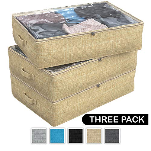NEATERIZE Under Bed Storage Bags | 3-Pack Underbed Clothing Organizer | Ultra Thick Fabric, Reinforced Handles & Zipper | Stackable Organization and Storage Containers for Bedroom [Beige]
