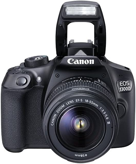 Canon EOS 1300D - Cámara réflex de 18 Mp (pantalla de 3 Full HD 18-55 mm f/3.5-5.6 NFC WiFi) color negro - Kit con objetivo EF-S 18-55 mm DC III (versión europea)