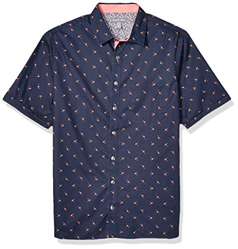 Geoffrey Beene Men's Big and Tall Easy Care Short Sleeve Button Down Shirt, Sea Navy, 2X-Large Big