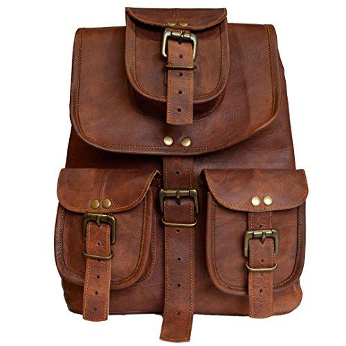 Vintage Leder Rucksack handgefertigt aus echtem Ziegenleder lässig braunen Daypack School College Bag Herren Damen