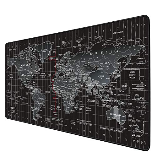 JIALONG Gaming Mouse Pad Large Size 354 X 157X 012inches Desk Mousepad with Personalized Design for Laptop Computer PC  Black World Map with Time