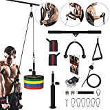3 in 1 Pulley System Gym, 90'' Adjustable Cable Pulley, LAT Pull Down Bars and Lift Up Cable...