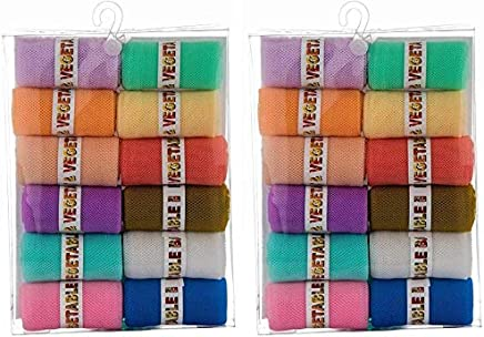 Dewberries® 24 Pcs of Fridge Zip Bags to Store Fruits, Vegetables, Fridge Organizer Large in 2 Different Colors(Green,Pink)
