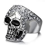 SAINTHERO Mens Vintage Black Gothic Skull Rings 316L Stainless Steel Heavy Metal Rock Punk Biker Bands High Polished Size 12