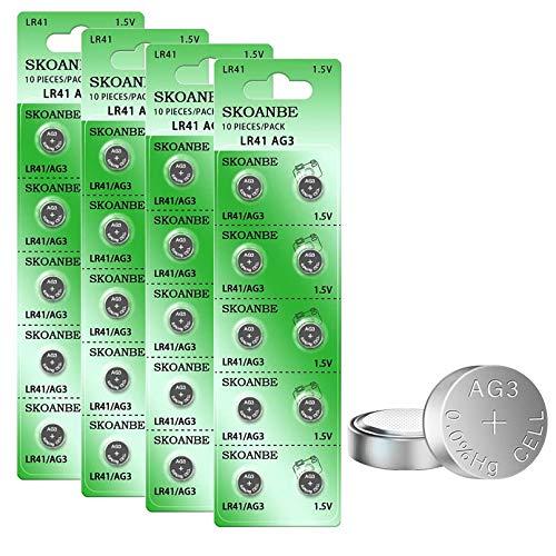 SKOANBE 40PCS AG3 LR41 392 384 192 1.5V Button Coin Cell Battery